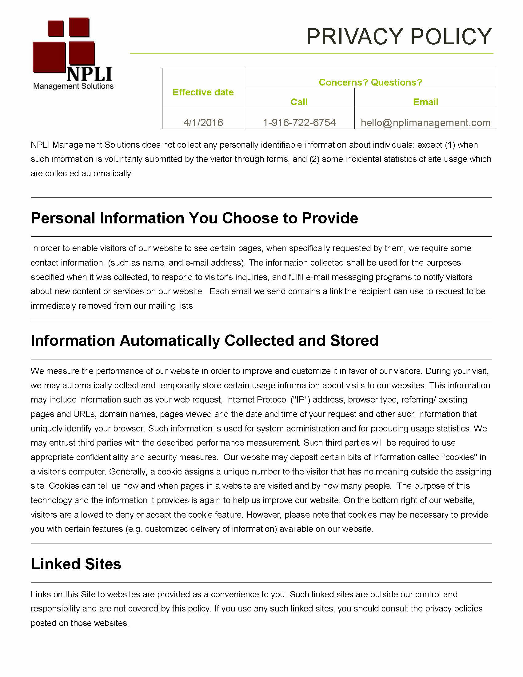 NPLI Management Solutions, Inc.'s Privacy Policy