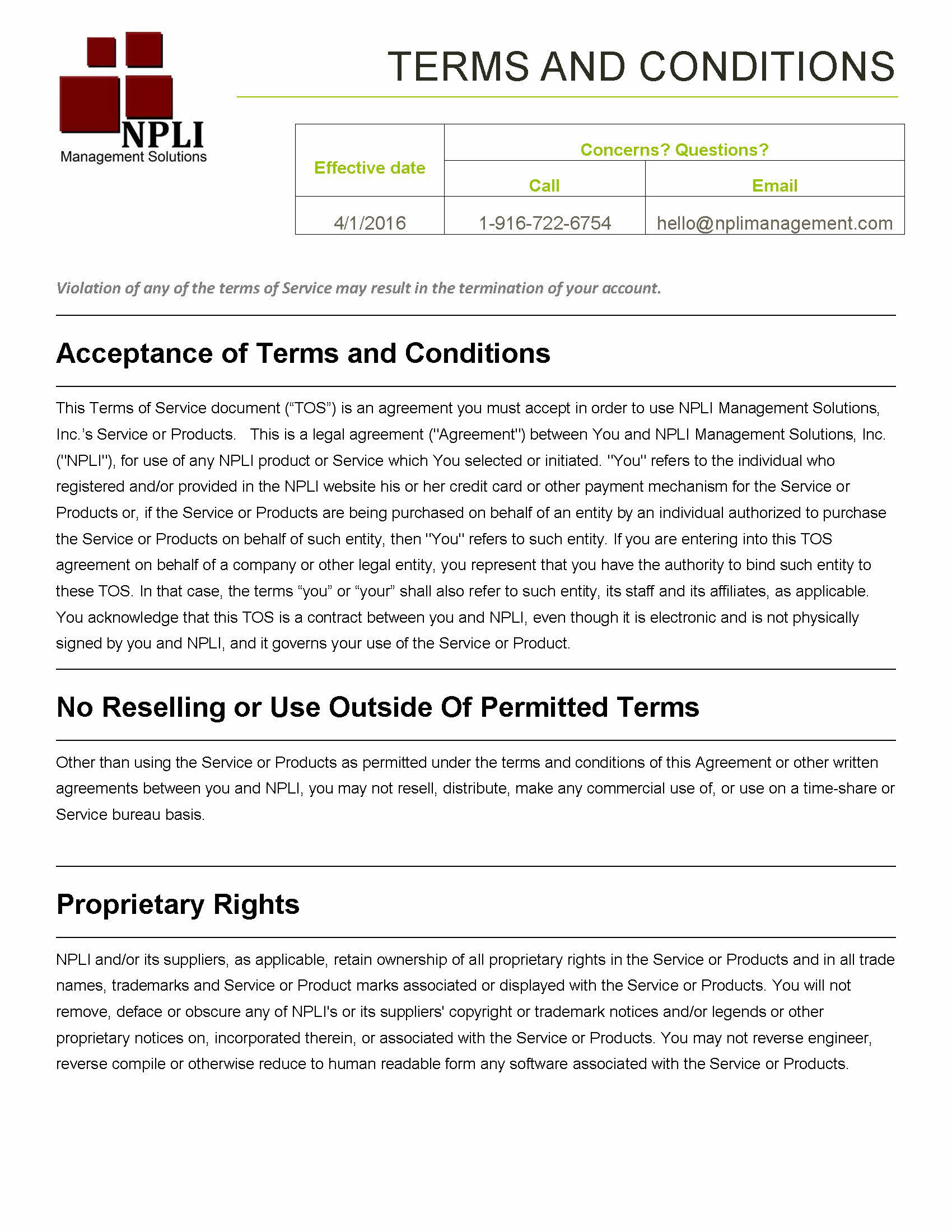 NPLI Management Solutions, Inc's Terms and Conditions
